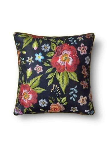 The Mia Floral Yastık A - Siyah Çiçekli 50 x 50cm Siyah